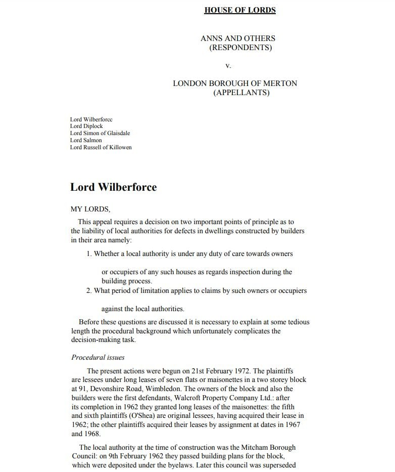 Anns v Merton London Borough Council lexlaw professional negligence solicitor lawyer barrister london tort compensation claim no win no fee conditional fee arrangement cfa dba