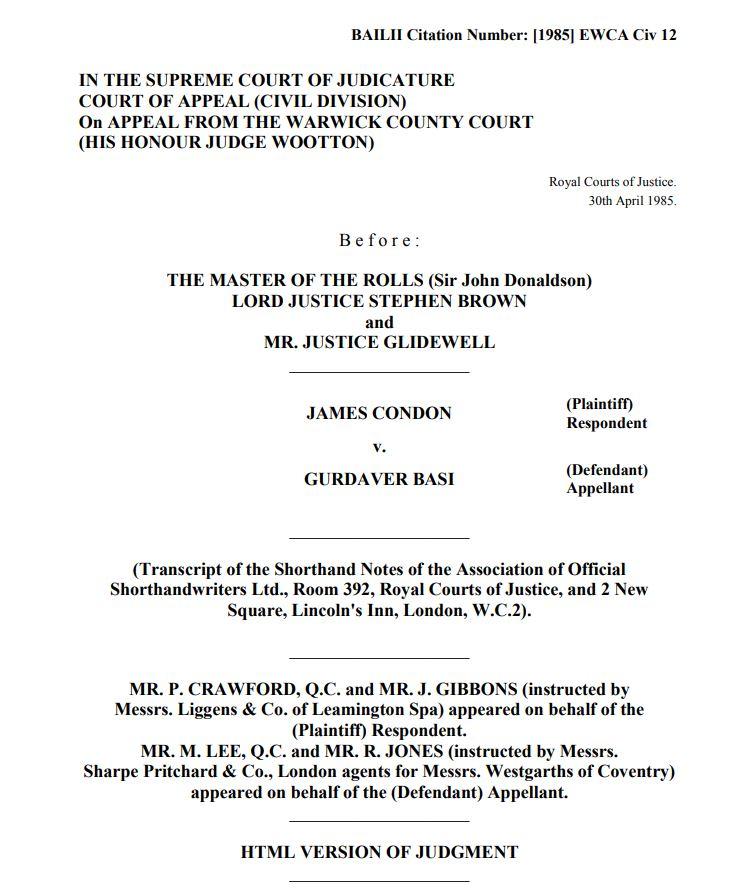 James Condon v Gudaver Basi lexlaw professional negligence solicitor lawyer barrister london tort compensation claim no win no fee conditional fee arrangement cfa dba