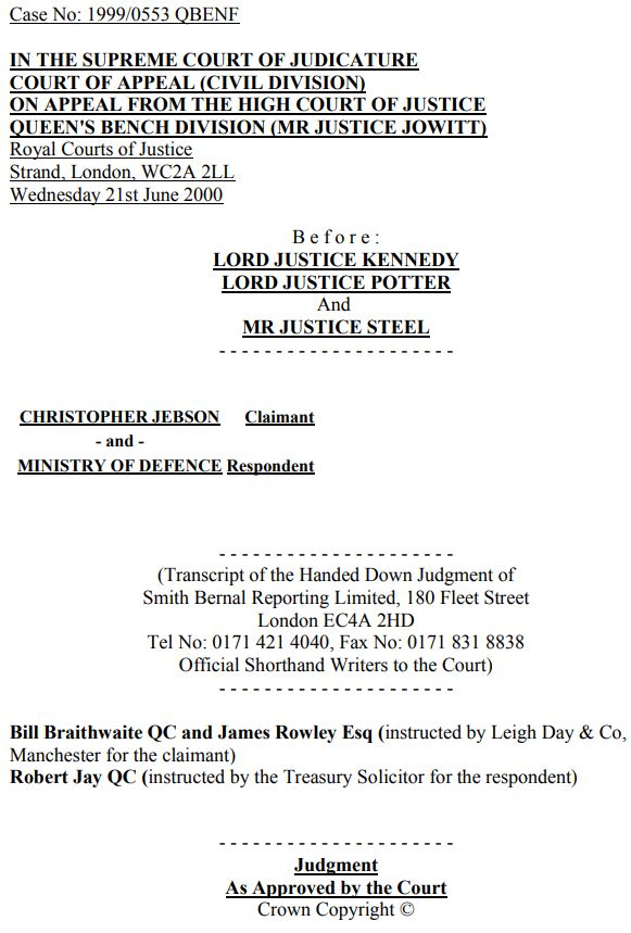 Jebson v Ministry of Defence LexLaw professional negligence solicitor lawyer barrister london tort compensation claim no win no fee conditional fee arrangement cfa dba